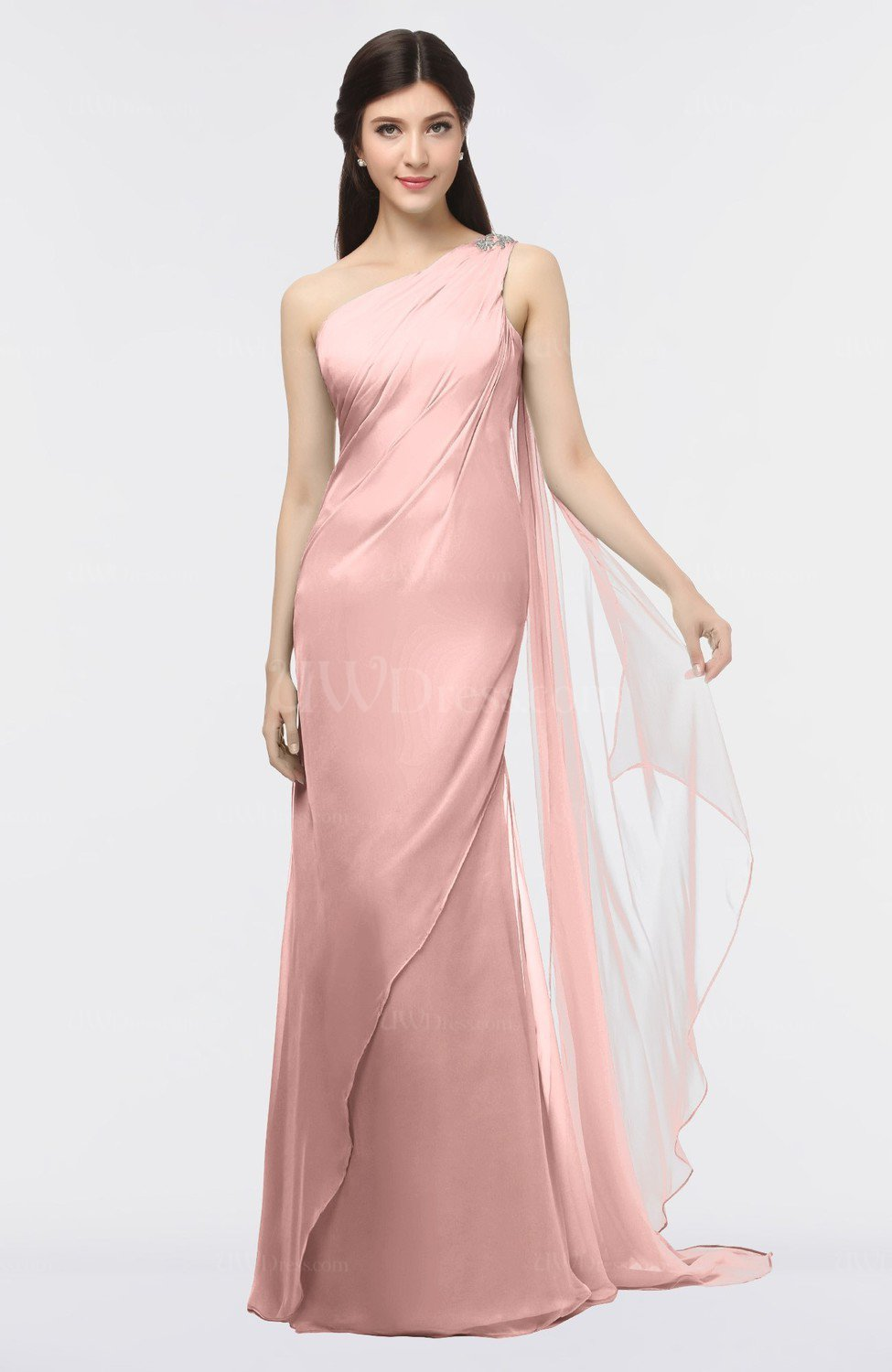 silver pink modern sheath zip up floor length beaded