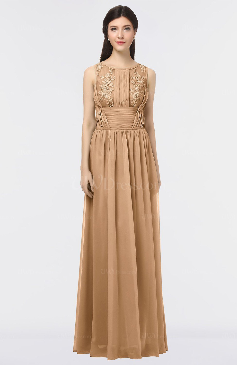 Light brown gorgeous a line scoop sleeveless floor length for Brown lace wedding dress