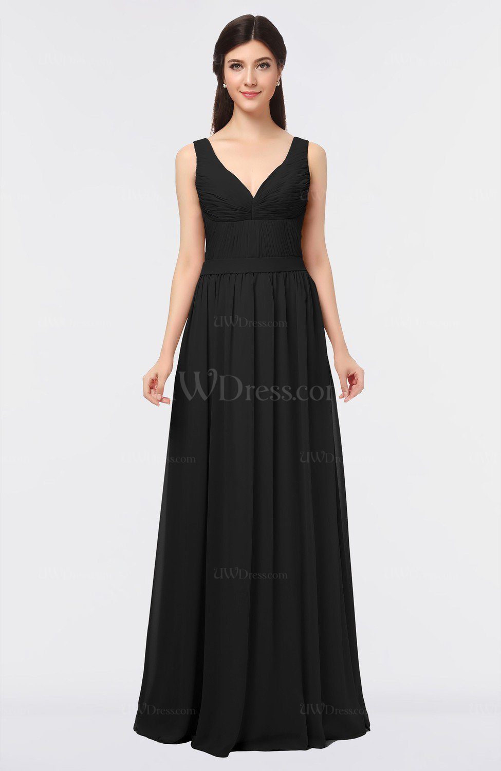 Black simple v neck zip up floor length ruching bridesmaid for How to dress up a black dress for a wedding