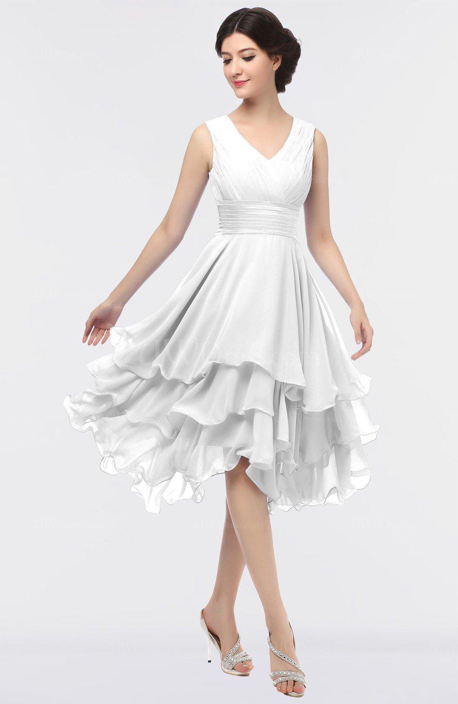 Cloud White Elegant V-neck Zip up Knee Length Ruching ...
