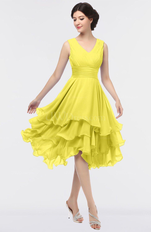 Pale Yellow Elegant V-neck Zip up Knee Length Ruching Graduation ...