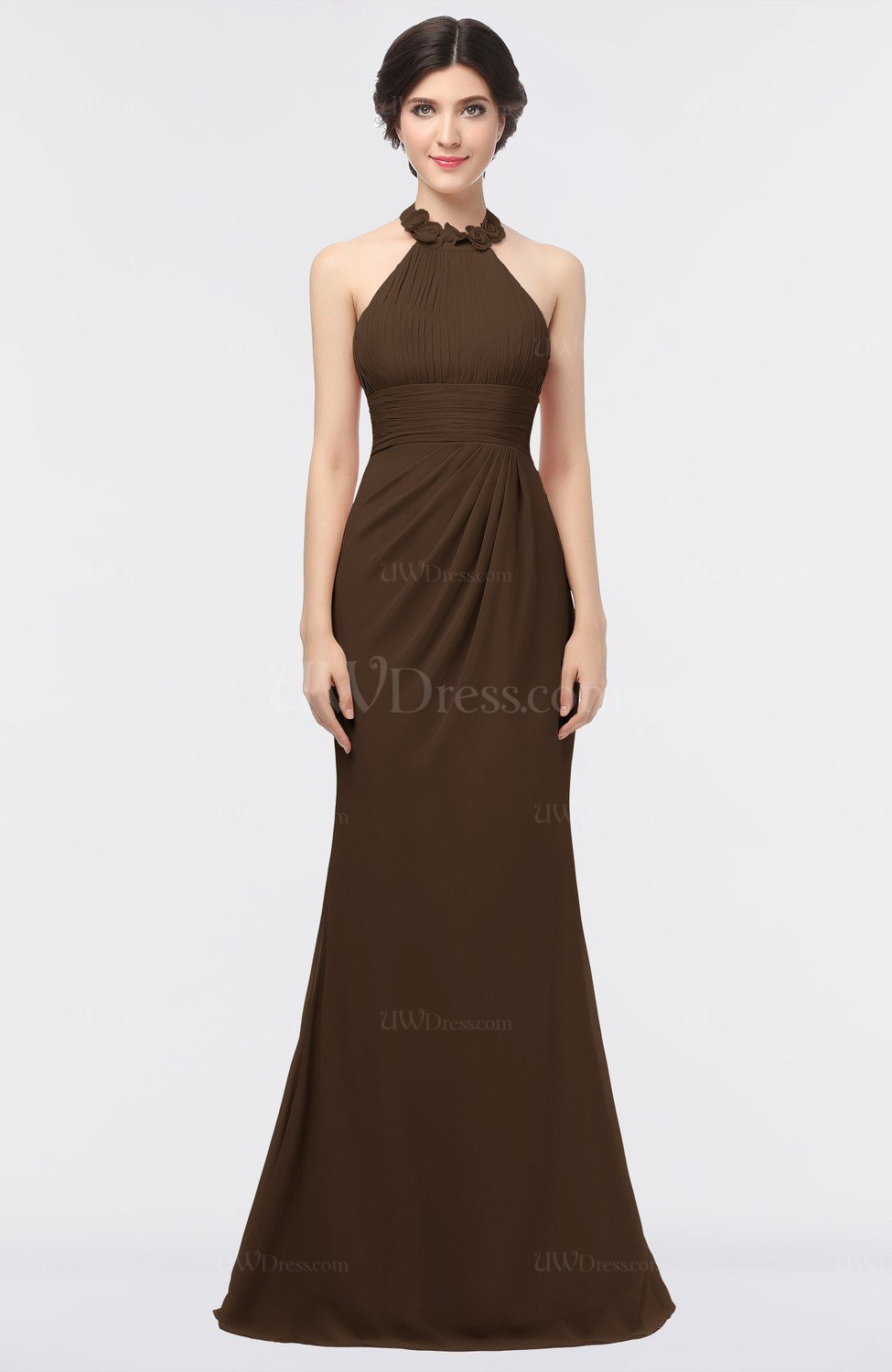 Chocolate brown romantic sheath halter sleeveless floor for Cocktail length wedding dresses
