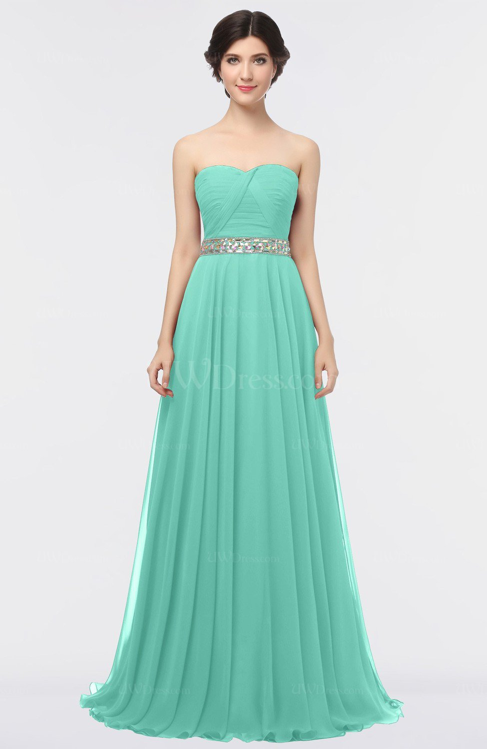 Mint Green Mature A-line Sleeveless Floor Length Ruching Prom ...