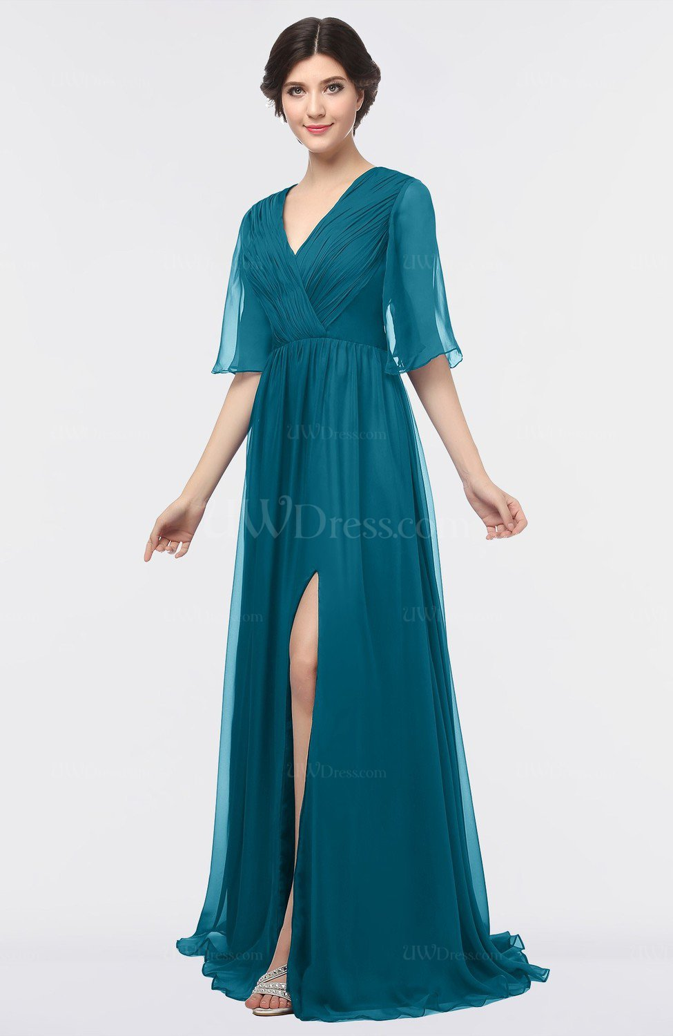 Midnight Blue Elegant V-neck Elbow Length Sleeve Floor ...