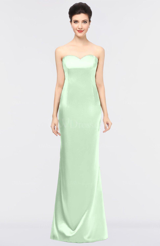 light green sexy column strapless zip up plainness prom