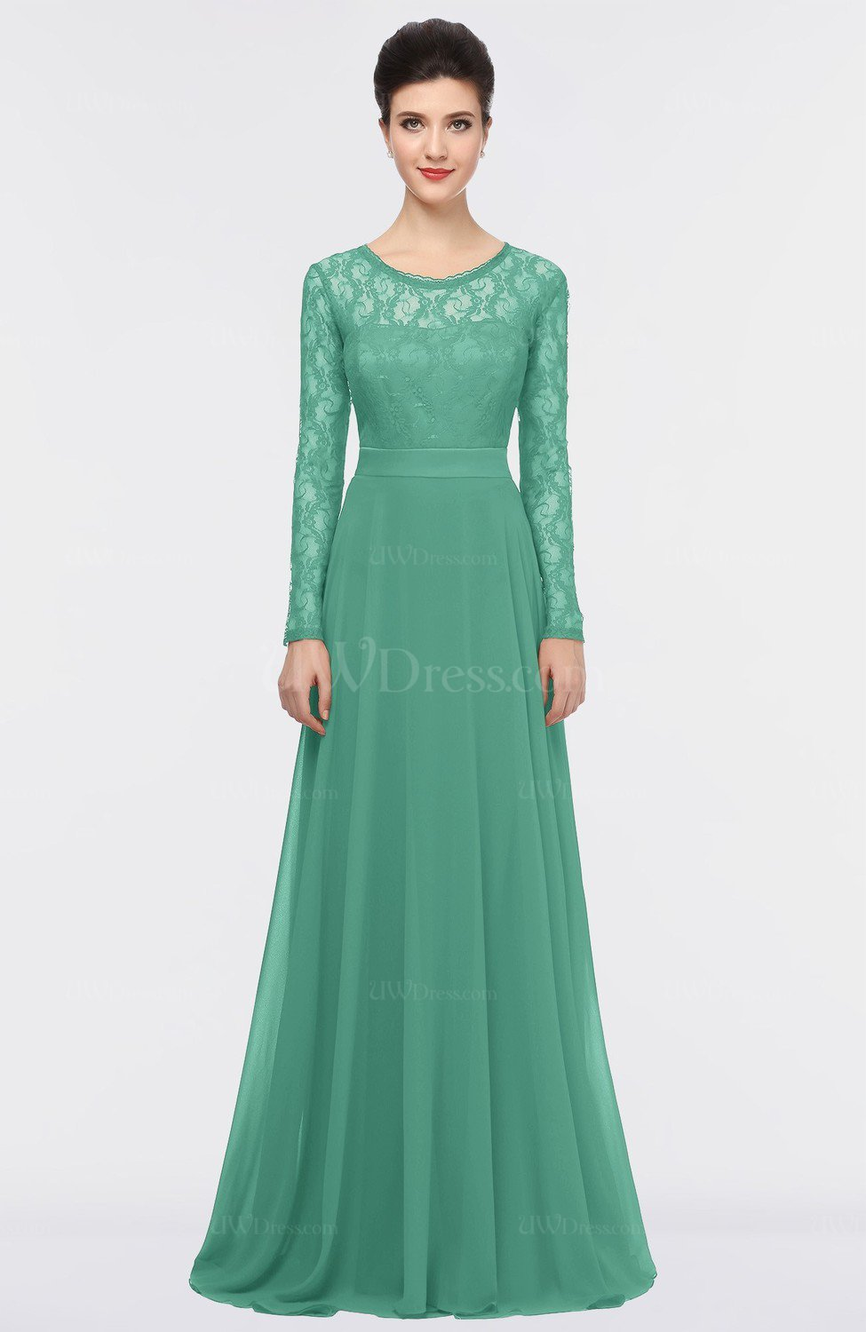 Beryl Green Romantic A-line Scoop Long Sleeve Floor Length Lace ...