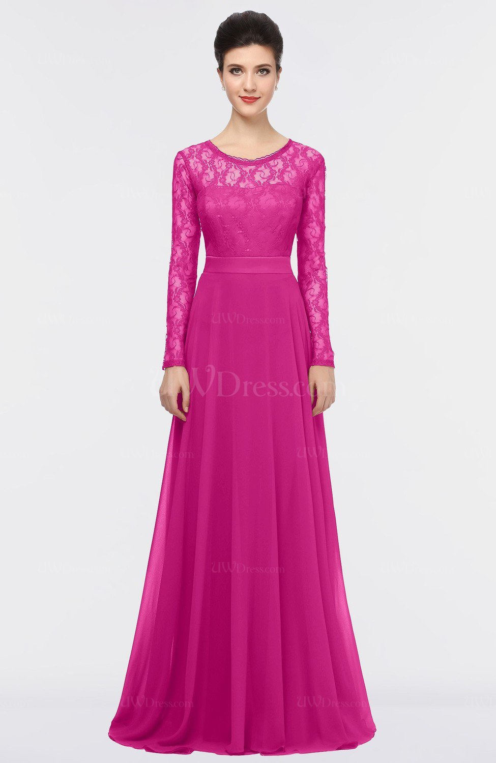 Hot Pink Romantic A-line Scoop Long Sleeve Floor Length Lace Prom ...