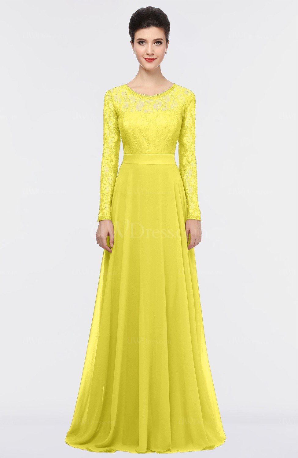 Pale Yellow Romantic A-line Scoop Long Sleeve Floor Length