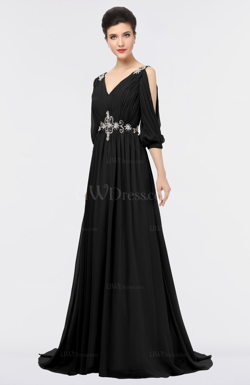 Black mature a line 3 4 length sleeve zip up sweep train for 3 4 sleeve wedding guest dress