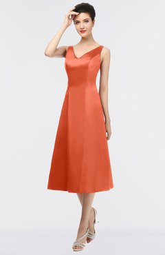 Modest Bridesmaid Dresses Persimmon color - UWDress.com