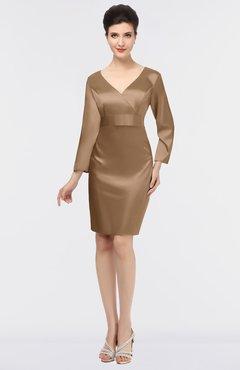 Bronze Brown Modest V Neck Long Sleeve Zip Up Knee Length Mother Of The Bride