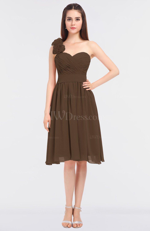 Chocolate Brown Romantic A-line Asymmetric Neckline Sleeveless Knee ...