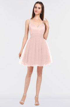 Pastel Pink Princess Ball Gown Spaghetti Sleeveless Plainness Graduation Dresses