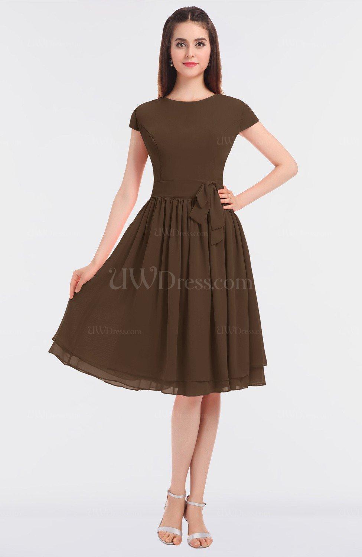 Chocolate Brown Antique Jewel Short Sleeve Knee Length