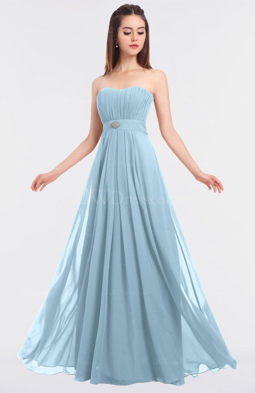 Ice Blue Elegant A-line Strapless Sleeveless Floor Length ...