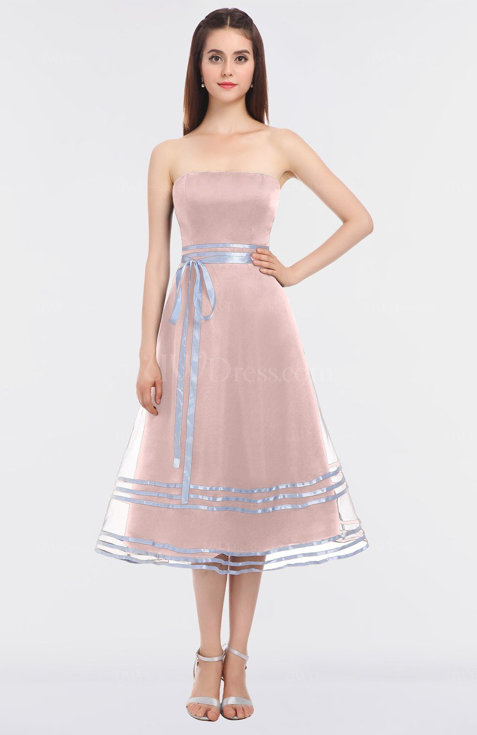 Pastel Pink Mature Ball Gown Bateau Sleeveless Zip up Sash Prom ...