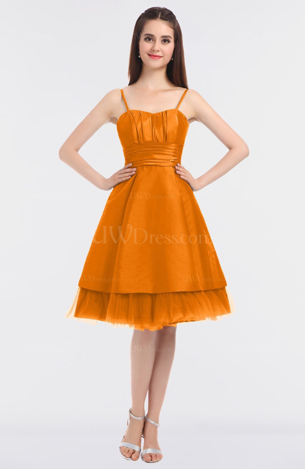 Orange Princess Ball Gown Spaghetti Zip up Knee Length Bridesmaid ...