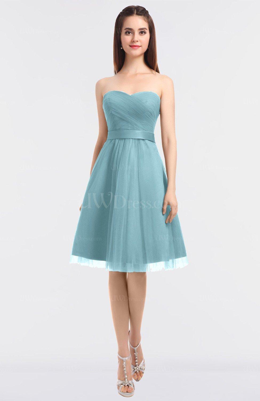 Aqua Glamorous A-line Sleeveless Knee Length Bow Bridesmaid Dresses ...