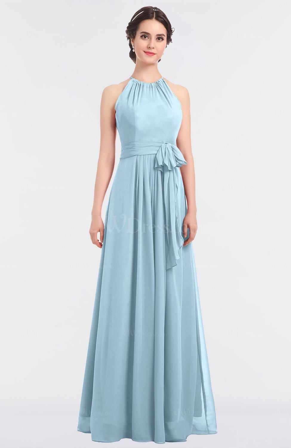 Ice Blue Classic A-line Halter Zip up Pick up Bridesmaid Dresses ...