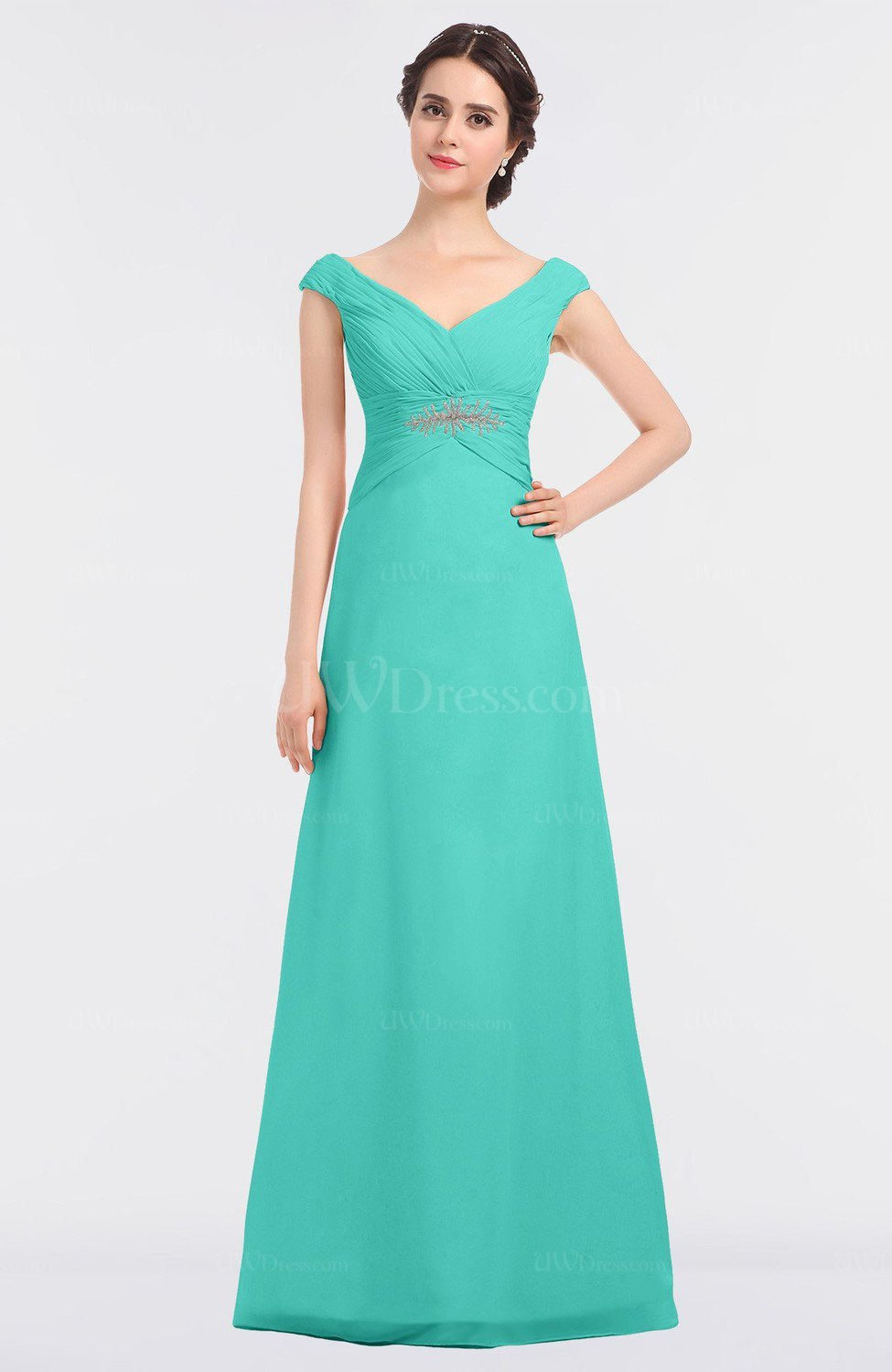2018 Long Turquoise Bridesmaid Dresses one shoulder Cross