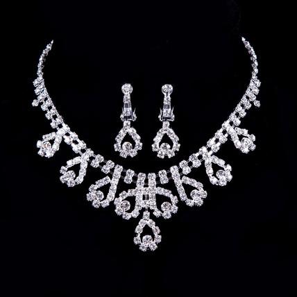Rhinestones Pendant Necklaces Stylish Jewelry Sets Engagement