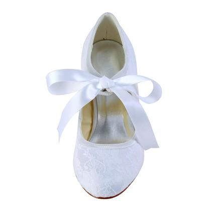 White lace pumps