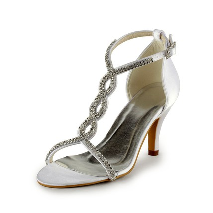 cream rhinestone sandals cone heel satin pumps heels women. Black Bedroom Furniture Sets. Home Design Ideas