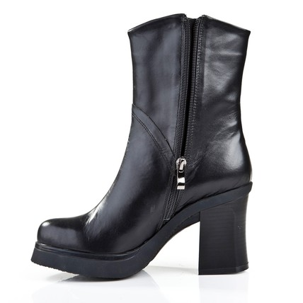 Cow Leather Pumps/Heels Boots Zipper Mid-Calf Boots Square Heel Casual