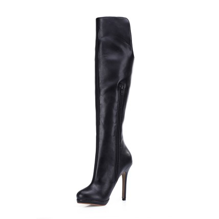 PU Wedding Shoes Zipper Closed Toe Wedding Average Knee High Boots