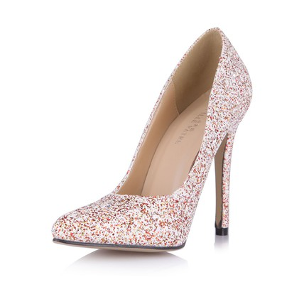 Red Office Amp Career Wedding Shoes Girls Narrow Sparkling Glitter Pointed Toe Sequined Cloth