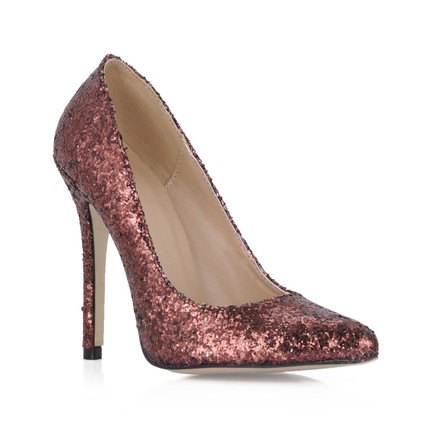Chocolate Brown Girls Wedding Shoes Narrow Dress Stiletto Heel Sequined Cloth Sparkling Glitter