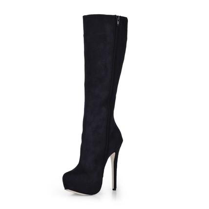 Zipper Boots Wide Boots Mid-Calf Boots Women's Stretch Fabric