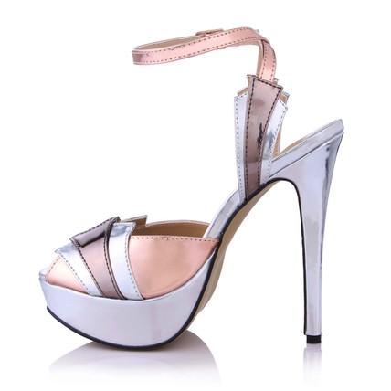 platinum women's wedding shoes stiletto heel pu split