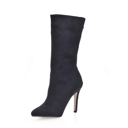 Zipper Boots Stiletto Heel Stretch Velvet Narrow Mid-Calf Boots Pumps/Heels