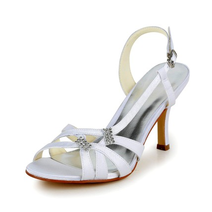 Honeymoon Sandals Women's Rhinestone Satin Kitten Heel Round Toe