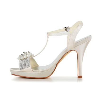 cream women 39 s sandals pumps heels stiletto heel graduation. Black Bedroom Furniture Sets. Home Design Ideas
