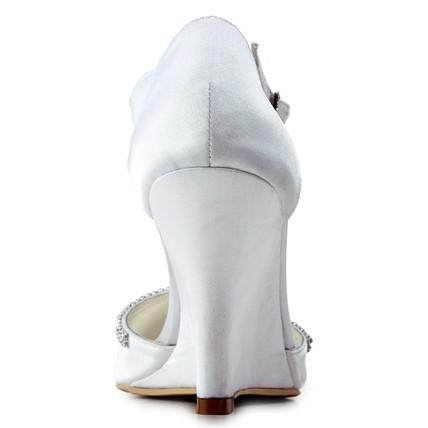 White Wedge Graduation Shoes