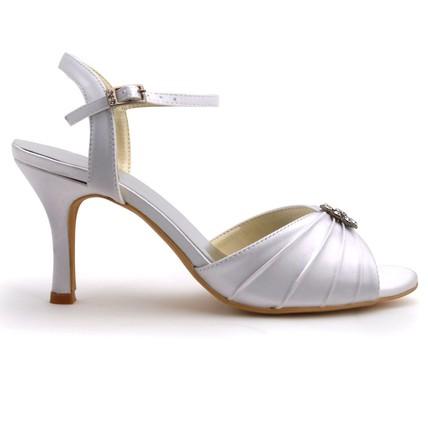 cream silk like satin wedding shoes women's buckle