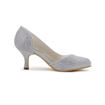 cream silk like satin wedding shoes rhinestone spool heel