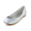 Flower Wedding Shoes Silk Like Satin Flat Heel Average Closed Toe Women's