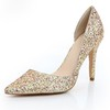 Stiletto Heel Pumps/Heels Average Office & Career Sparkling Glitter Patent Leather Closed Toe