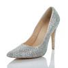 Rhinestone Wedding Shoes Genuine Leather Pumps/Heels Cone Heel Average Women's