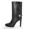 Girls' Wedding Shoes Mid-Calf Boots Dress Genuine Leather Pointed Toe Chunky Heel
