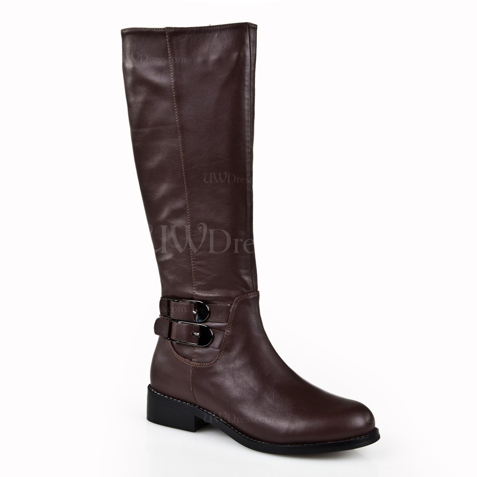 chocolate brown knee high boots boots buckle pointed toe