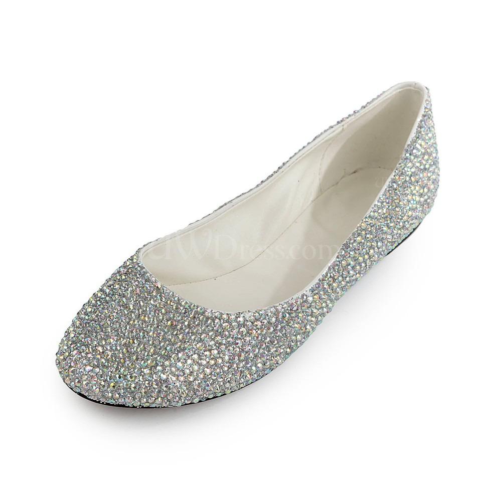 Rhinestone Flats For Wedding: Platinum Flat Heel Wedding Shoes Girls' Rhinestone Round