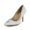 Dress Wedding Shoes Pointed Toe Patent Leather Women's Rhinestone Kitten Heel