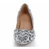 Abnormal/Fantasy Heels Wedding Shoes Honeymoon Rhinestone Closed Toe Genuine Leather Women's