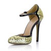 Cone Heel Sandals Opalescent Lacquers Party & Evening Buckle Round Toe Women's