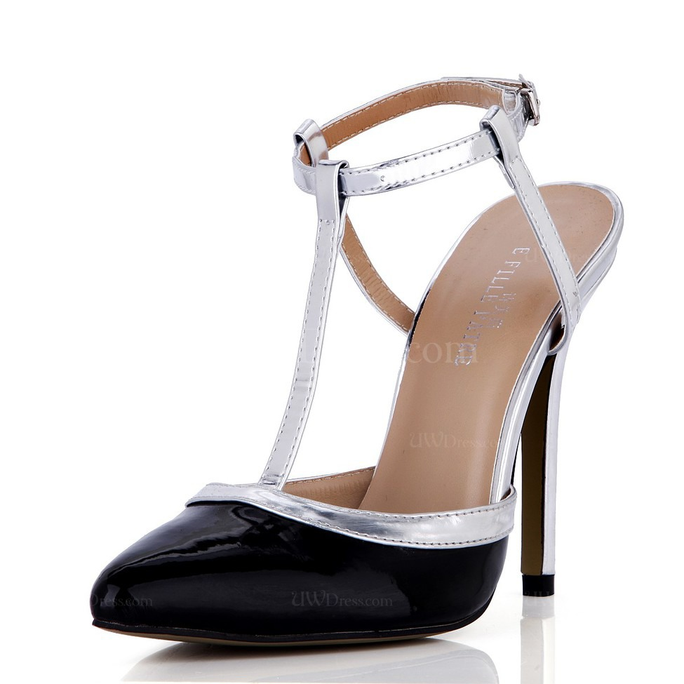 Black Buckle Wedding Shoes Daily Girls Stiletto Heel Narrow Pointed Toe