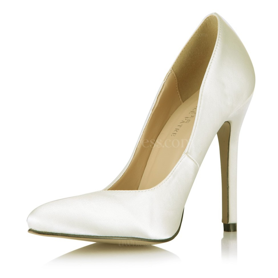 cream girls 39 pumps heels silk like satin closed toe casual. Black Bedroom Furniture Sets. Home Design Ideas